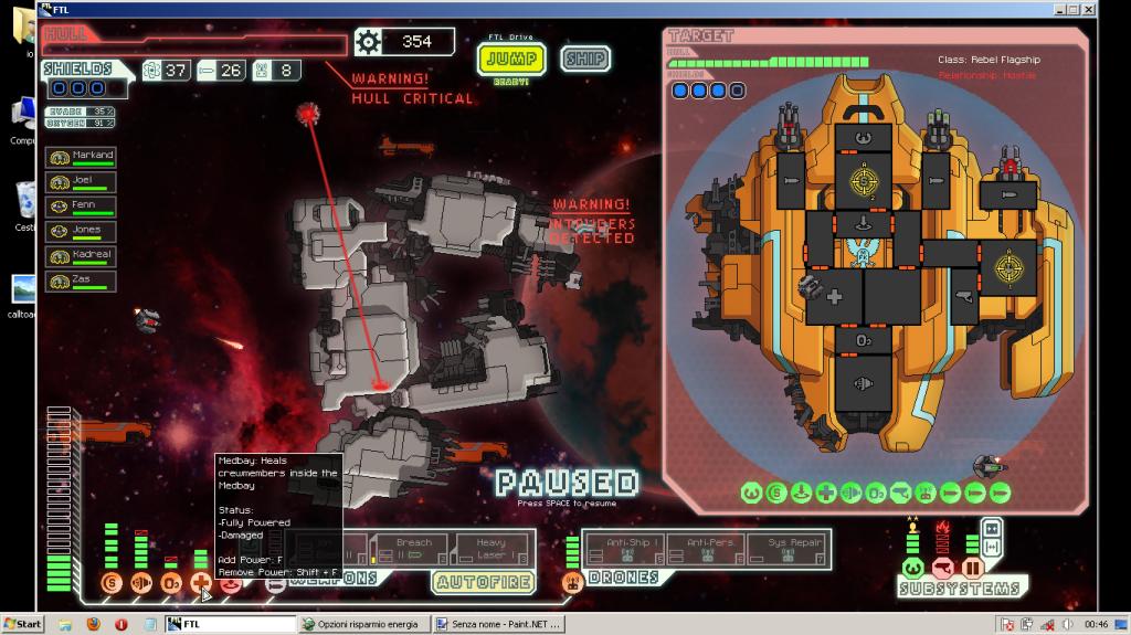 qui vediamo una delle tante volte in cui la nave madre dei ribelli ci sfascia. Come vedete però un paio di cazzotti li ho dati anche io